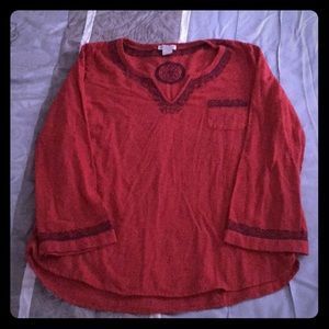 Red slub silk pullover style blouse by Lucky Brand